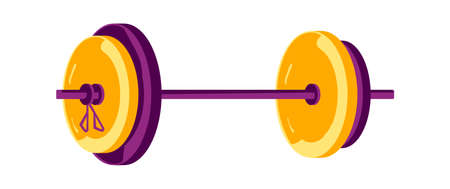 Barbell with big weight, equipment for sports training in the gym, cartoon vector illustration 向量圖像