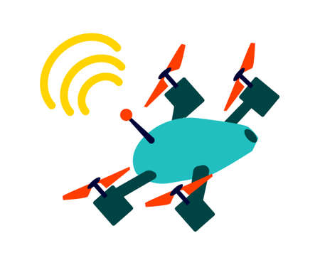 Flying quadcopter or quadrotor helicopter with wifi sign cartoon vector illustration 向量圖像
