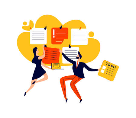 Deadline, time management and teamwork business concept vector. Company workers with to do task cards, effective planning
