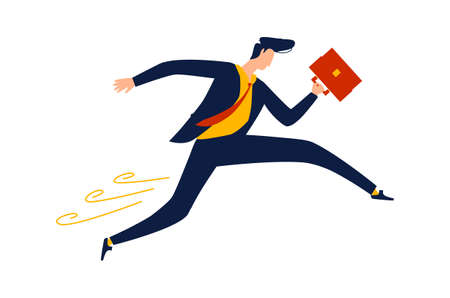 Business - running overcoming obstacles, concept vector cartoon illustration. Businessman in office suit with briefcase in hand runs and jumps, metaphor about enterprise