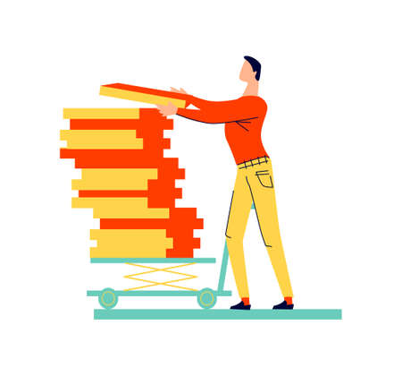 Male character moves cargo cartoon vector. Worker, man in casual wear took the load in hand and moves it to cart, person loader or porter isolated on white background