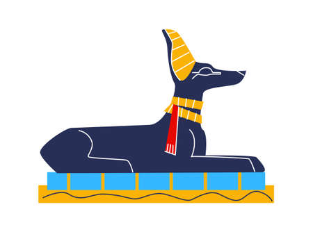 Ancient Egypt wall art or mural element cartoon vector. Monumental painting Egyptian culture symbols, ancient god Anubis, animal dog figure, isolated on white