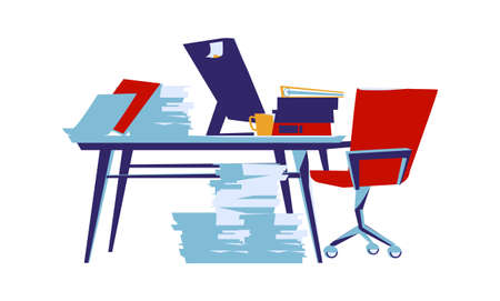 Office interior isolated on white background cartoon vector illustration. Workplace with table, computer, armchair, task cards glued to monitor, coffee cup