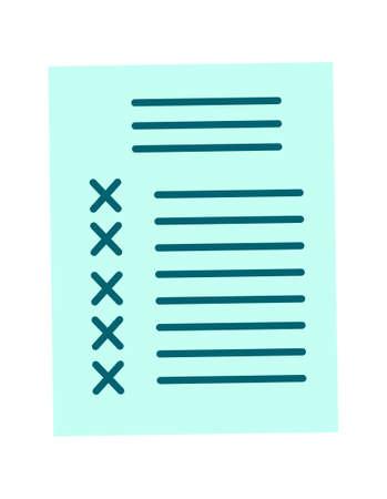 Checklist paper document, agreement cartoon vector illustration isolated