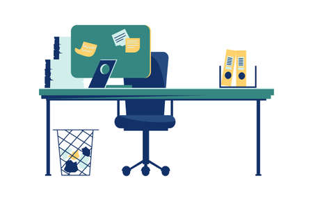 Office interior isolated on white background cartoon vector illustration. Workplace with table, computer, armchair, task cards glued to monitor, trash can on the floor