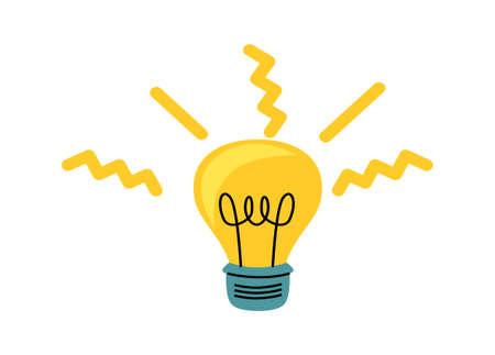 Light bulb with yellow glowing rays, cartoon vector illustration, idea symbol