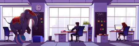 Concept of ignore elephant in room. Illustration of idiom about avoid controversy, oblivious obvious problems and unpleasant issues. Vector cartoon office interior with busy people and circus elephant