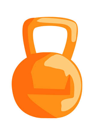 Metal sports kettlebell, equipment for sports training in the gym, cartoon vector illustration isolated on white