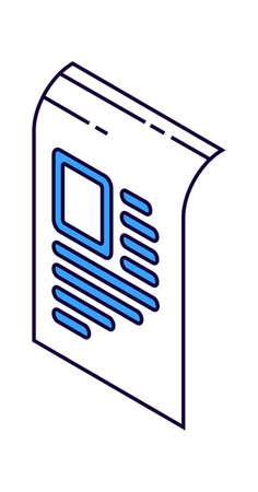 Paper document, agreement isometric line art vector illustration isolated on white
