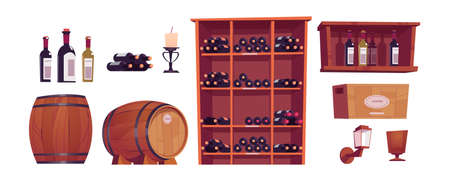 Wine bottles and barrels, wooden casks, shelf, rack and box with alcohol. Vector cartoon set of furniture in winery cellar, restaurant basement or wine shop storage room isolated on white background