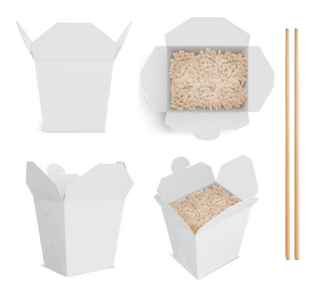 White box with rice and chopsticks, paper packaging for chinese or japanese food. Vector realistic mockup of bamboo sticks and open blank takeaway boxes with boiled basmati in front and top view