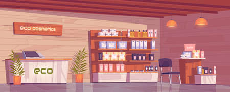 Eco cosmetics shop with natural products for makeup, skincare and perfume in showcase. Vector cartoon interior of beauty store with cashbox on counter, goods on wooden shelves and plants