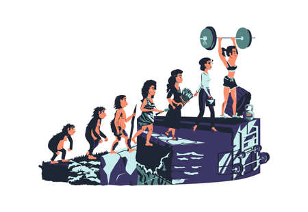 Woman evolution time line vector cartoon illustration concept Female development process from monkey, erectus primate, Stone Age, farmer to modern fashion woman and fitness girl with barbell Illusztráció
