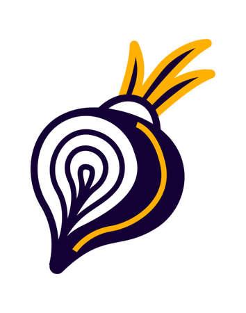 Vegetable isometric icon, onion head vector illustration