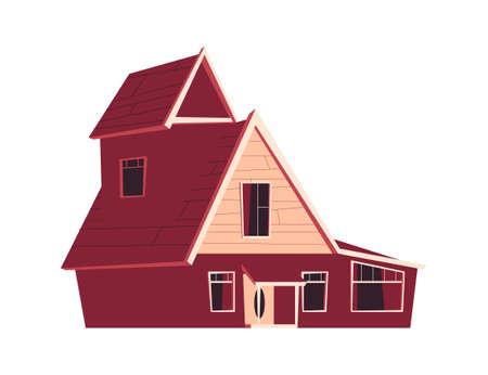 House building isolated, cartoon vector illustration