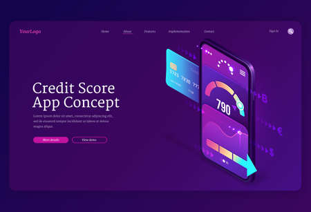 Credit score isometric landing page, bank consumer rating on smartphone screen with application meter. Loan approval and personal risk control banking mobile service, 3d vector web banner template 矢量图像