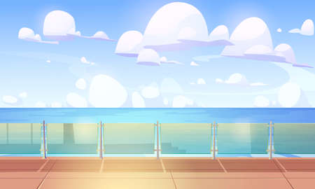 Cruise liner deck or quay with glass baluster, empty ship with wooden floor and plexiglass fencing. Modern luxury sailboat in sea or ocean. Passenger vessel at summer time, Cartoon vector illustration Çizim