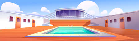 Swimming pool on cruise liner, empty ship deck with wooden floor and door portholes. Modern luxury sailboat in sea or ocean. Passenger vessel with water pond at summer time Cartoon vector illustration