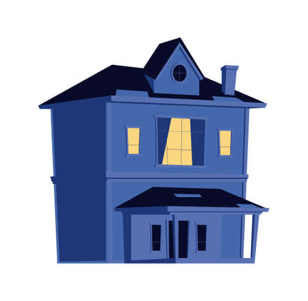 House at night, building with glowing windows in the dark, cartoon vector illustration