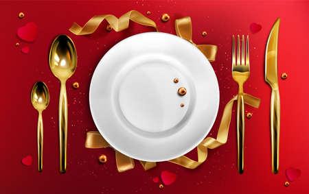 Golden cutlery and plate top view, christmas dinner setting gold fork, spoon and knife on red tablecloth with ribbons, pearls and glitter, ceramic xmas holiday utensil Realistic 3d vector illustration
