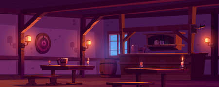 Old tavern, vintage pub with wooden bar counter, shelf with bottles, glow lanterns and beer mug on table. Vector cartoon empty interior of retro saloon with barrel and darts target at night