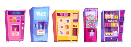 Vending machines with snacks, fast food, water, ice cream and sweets. Vector cartoon set of automatic vendor machines for sale food, candies and drinks isolated on white background Vettoriali