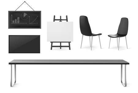 Boardroom furniture and stuff, conference room for business meetings, training and presentation, company office interior table, chairs, screen and board isolated on white background, 3d vector set