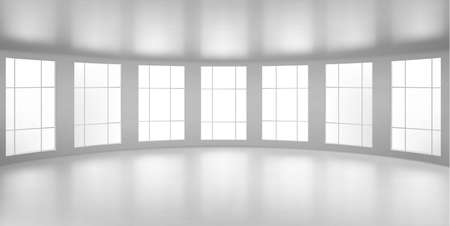 Empty round room, office with large windows, white ceiling and floor. Internal interior structure of modern city architecture, inner design project visualization, Realistic 3d vector illustration