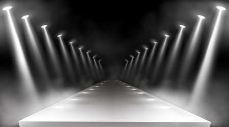 Spotlights background, glowing stage lights, white beams for red carpet award or gala concert. Empty illuminated way for presentation, runway with lamp rays with smoke for show, Realistic 3d vector Vettoriali