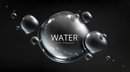 Water background, air bubbles on black backdrop with aqua spheres. Save planet resources and ecology protection concept with liquid mercury balls or drops, Realistic 3d vector template for advertising