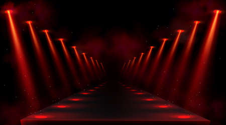 Podium illuminated by red spotlights. Empty platform or stage with beams of lamps and spots of light on floor. Vector realistic interior of dark hall or corridor with projectors rays and smoke
