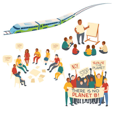 Concept clip art of kids education, discussion, protest action and eco transport. Vector cartoon set of people with save planet banners, train with rails, meeting people and children with teacher