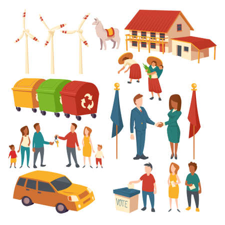 Concept clip art of politician election, agreement, car purchase, recycle garbage, eco energy and plantation. Vector cartoon set of acting people, house, lama, windmills and trash bins