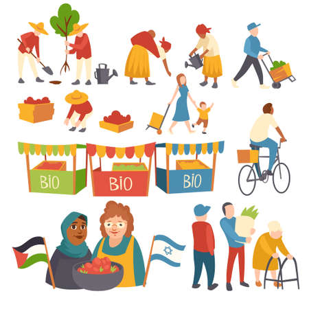 Set of icons people planting trees, harvesting crop on field, mother with child, women with crop holding Palestinian and Israeli flags, bio products in market booths cartoon flat vector illustration