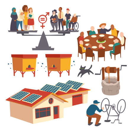 Set of icons gender equality, men and women stand on scales pans, big family sit around table, apiary with wooden hives, houses with solar panels, man fixing bicycle, cartoon flat vector illustration