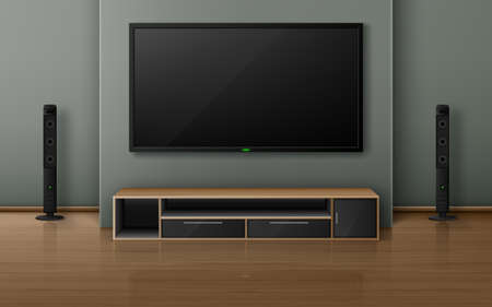 Home theater with tv screen and speakers in modern living room. Vector realistic interior with plasma television hanging on wall, sound stereo system and stand on wooden floor Vettoriali