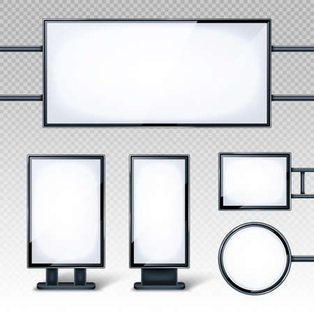 Blank billboards displays, empty white LCD screens or stands for advertising. Horizontal, vertical, round and rectangular blank banners isolated on transparent background, realistic 3d vector set Vettoriali