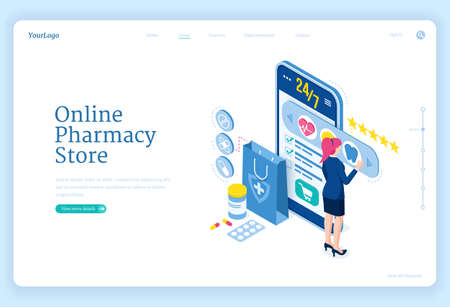 Online pharmacy store banner. Mobile drugstore service. Vector landing page with isometric woman and smartphone with application for purchases medical drugs, pills and healthcare products Vettoriali