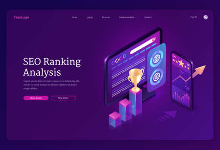 SEO ranking analysis banner. Digital analytics of search engine optimization of content. Vector landing page with isometric charts and graphs on computer and mobile screen Vettoriali
