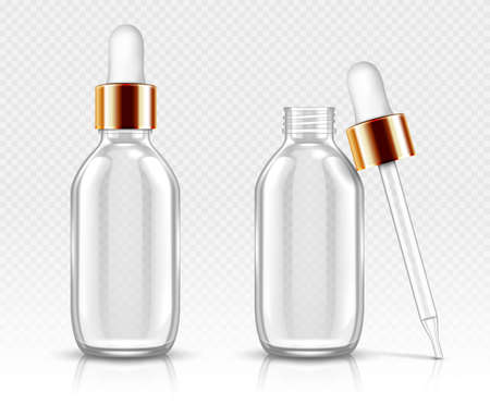 Realistic glass bottles with dropper for serum or oil. Cosmetic flask or vials for organic aroma essence, anti-aging essential collagen for beauty care, isolated transparent flacon 3d vector mock up Vettoriali
