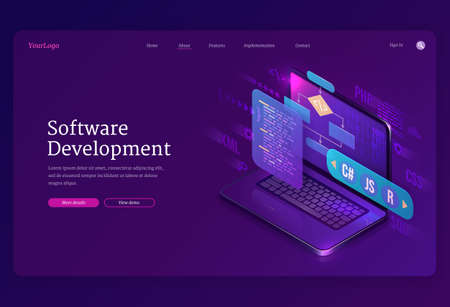 Software development isometric landing page. Website or program coding cross platform, algorithm programming languages interface on computer screen, technology process, app creation 3d vector banner