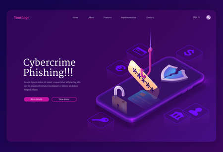 Phishing cybercrime isometric landing page. Fishing hook catch account password from smartphone screen. Scammer or fraud theft personal data in internet, hacking cyber crime, 3d vector web banner Vettoriali
