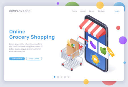 Online grocery shopping isometric landing page, digital store for food purchasing, goods in trolley at huge smartphone with internet market mobile app on screen. Cyber shop 3d vector web banner
