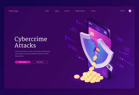 Cybercrime attack isometric landing page. Smartphone screen with cracked shield and coins scatter from bank card, theft of account personal data in internet, hacking cyber crime, 3d vector web banner
