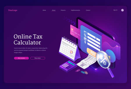 Online tax calculator banner. Concept of income audit, digital finance analysis and taxation payments. Vector landing page with isometric accounting form on computer monitor, receipt and credit card
