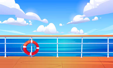 Seascape view from cruise ship deck. Ocean landscape with calm water surface and clouds in blue sky. Vector cartoon illustration of wooden boat deck or quay with railing and lifebuoy