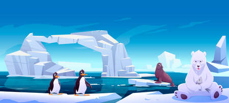 Wild animals sitting on ice floes in sea, white bear holding fish, penguins and seal. Antarctica or North Pole inhabitants in outdoor area, ocean. Beasts in nature fauna, Cartoon vector illustration Vettoriali