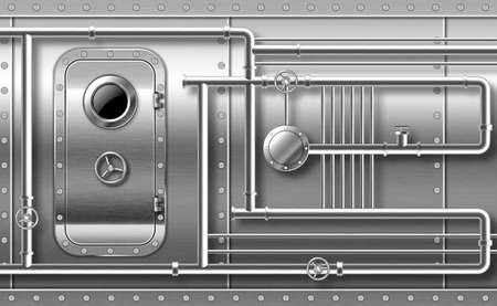 Metal door with porthole on wall with pipes, valves and rivets. Bunker close entrance. Ship or secret laboratory steel bulletproof doorway with illuminator and rotary lock wheel realistic 3d vector Иллюстрация