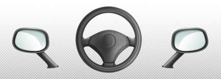 Car steering wheel and side rear view mirrors, helm and glasses automobile parts. Classic auto details or accessories isolated on transparent background, Realistic 3d vector illustration, icons set