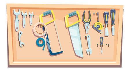 Set of tools for a carpenter, a stand with a set for woodworking fixed on it cartoon vector illustration